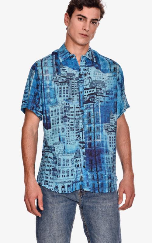 camisa-manga-corta-estampado-rock-blue-nigth